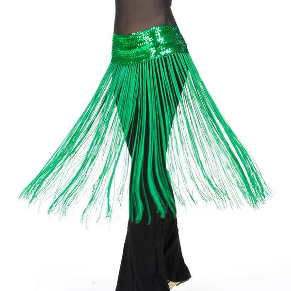 12 Colors Cheap Belly Dance Clothes Accessories Stretchy Long Tassel Fringe Belts Sequins Women Belly Dance Hip Scarf Elastic