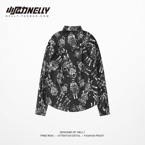 Рубашка граффити большого размера со вкусом гонконгского мужской и женской ретро комиксов нейтральные рубашки с длинными рукавами осень и зима BF