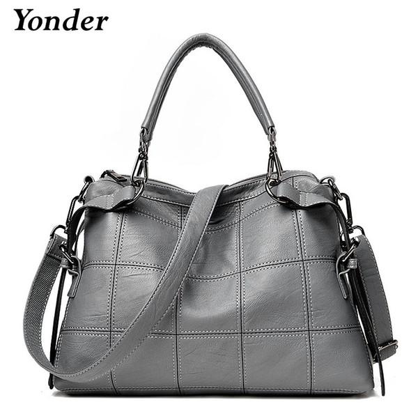 Yonder women handbag ladies genuine leather messenger bag women's big shoulder crossbody bag female large Boston gray/black