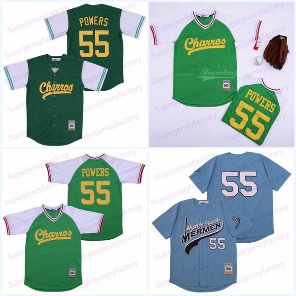 Mens Kenny Powers # 55 Eastbound and Down mexicana Charros Filme Baseball Jersey Verde Azul barato costurado Jerseys Shirts Transporte rápido