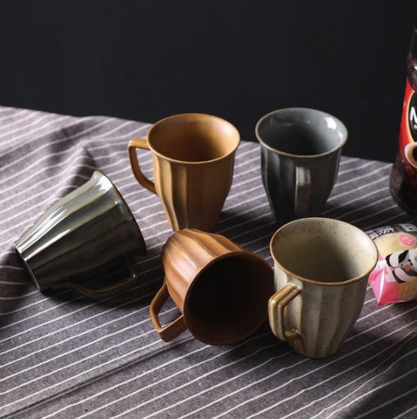 Paquet de 4 tasse à café en céramique grandes poignées Tasse en porcelaine pour le café, thé, boissons de cacao et malaxé