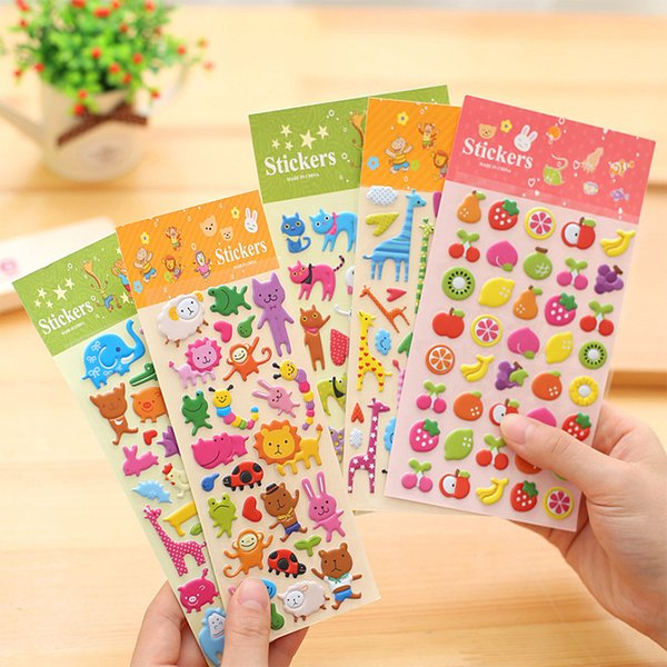 best selling sticker toy 7 Sheets set Cute Animal Fruit Prints Stickers Diary Decoration Kids 3D PVC Korea Stationery Kindergarten Baby Gift Children Toy