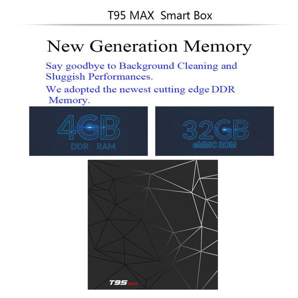 T95 Max Android 8.1 TV Box Allwinner H6 Quad Core 4GB Ram 32G Rom WiFi 2.4G 6K IPTV Media Player