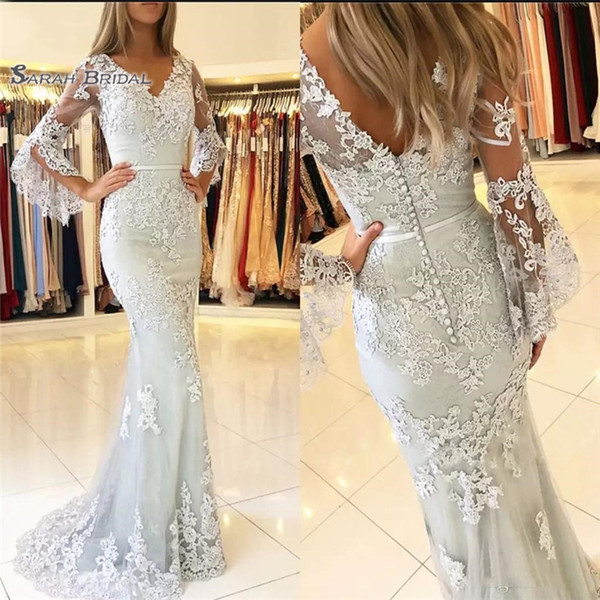 2019 New V Neck Sexy Mermaid Prom Dresses Lace Applique Long Bell Sleeves Open Back Dresses Evening Wear Party Gowns