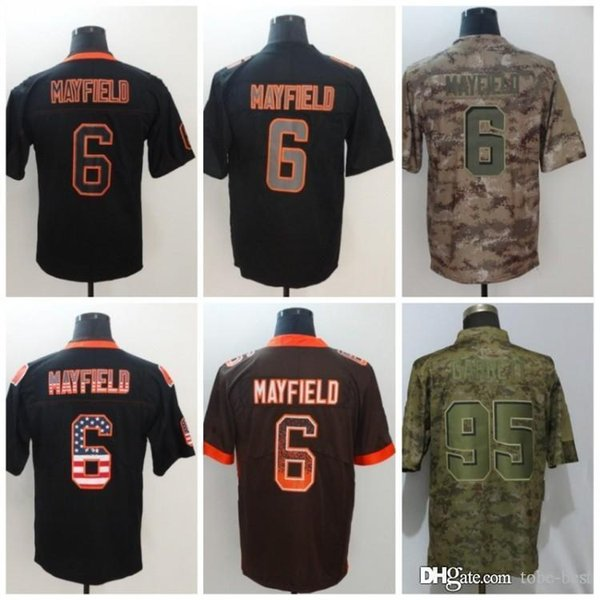 buy online 879ae 7150f 2019 Cleveland 6 Baker Mayfield Jersey 95 Myles Garrett Browns 2018 Salute  To Service USA Flag Lights Out Black Color Rush Drift Camo Limited From ...