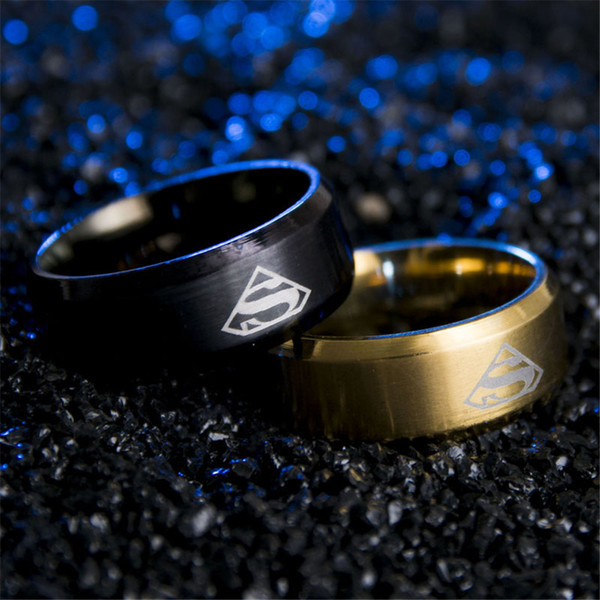 Wholesale Superman Ring Men Stainless Steel Rings For women Fans Gift Jewelry Accesories