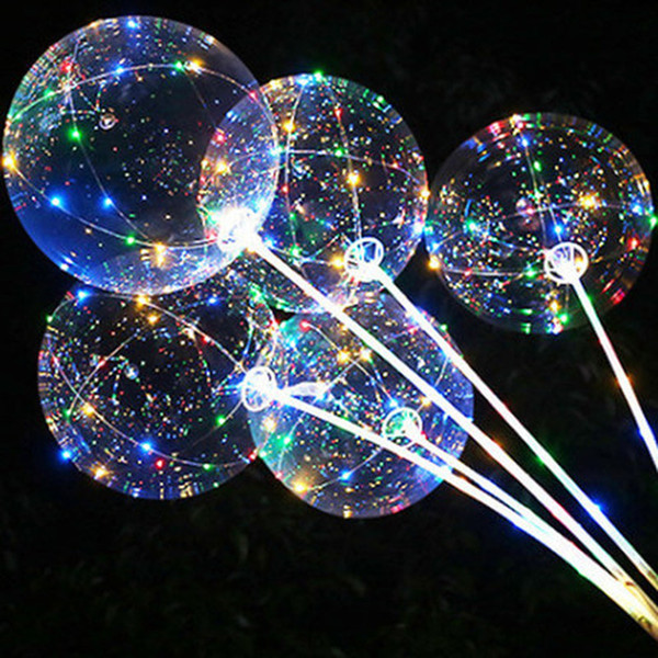 best selling Handle Led Balloon With Sticks Luminous Transparent Ballons Wedding Birthday Party Decorations Kid LED Light Balloon