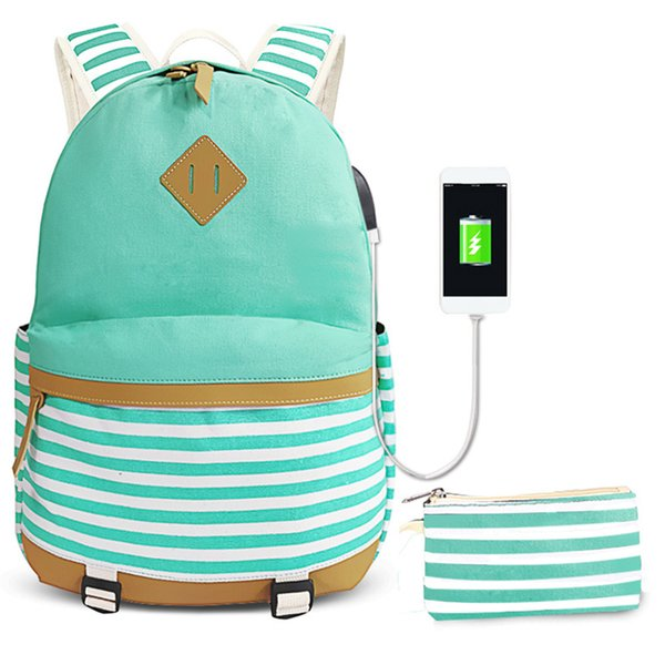 Women Men Travel School Bag Canvas Striped Zipper Adjustable Strap Laptop Pencil Case With USB Port Large Capacity Backpack