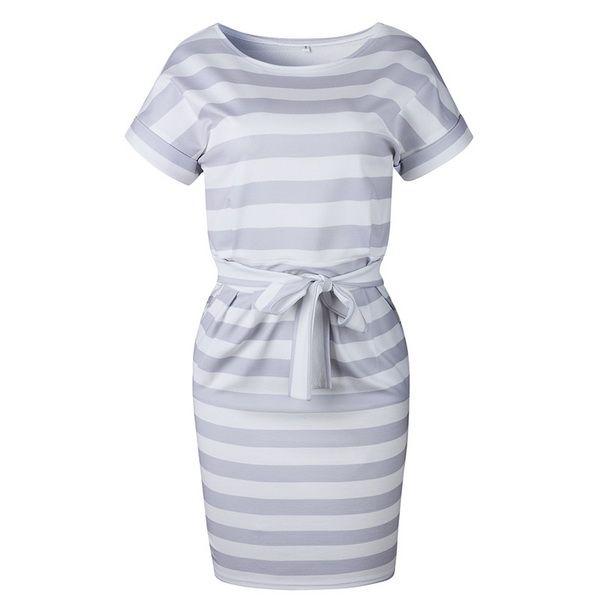2019 new fashion popularSlim dresses are hot sellers 3 Summer fashion belts, round collars, short sleeves, slim mini dresses