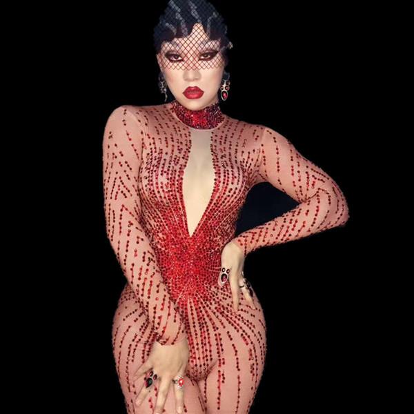 Женский наряд Боди День рождения Отпразднуйте износ Певица носить Сияющие красные стразы Сексуальный комбинезон Костюм Bling Комбинезон