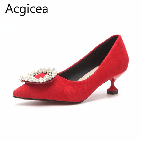 Dress Shoes Size 34-39 2019 New Spring Women Pumps 3cm Low Heels Formal Pants Woman Comfortable and Elegant Pearl Footwear for Ladies