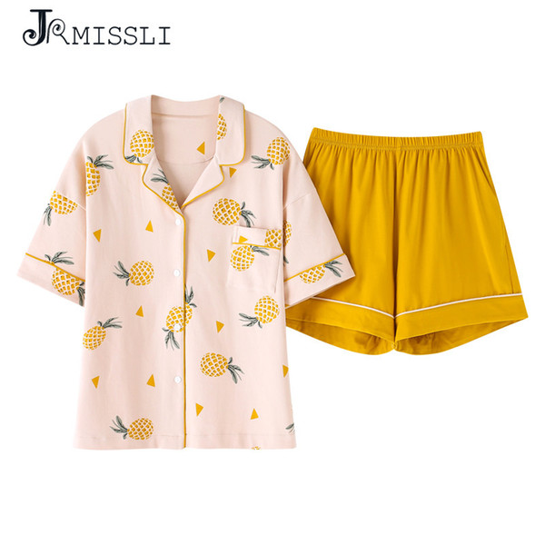 JRMISSLI Plus Size M-XXL Women Pajamas Sets 100% Cotton Nightwear Summer Pinapple Pyjamas Sleepwear Female Pijamas Mujer
