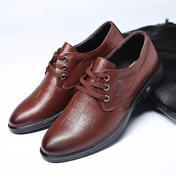 2019 Yeni Erkek Gerçek Deri Ayakkabı İş Elbise Şık Gentleman Ayakkabı Basit İngiliz Stili Düğün Ayakkabı
