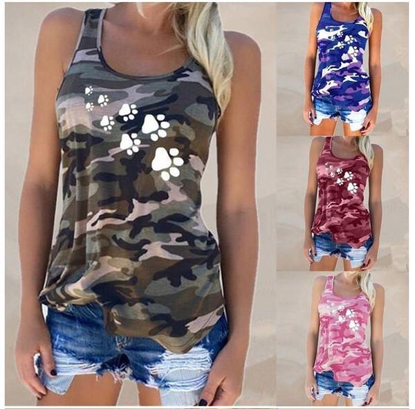 2019 Nueva camiseta sin mangas de camuflaje de algodón de verano para mujer Camiseta casual de moda W01