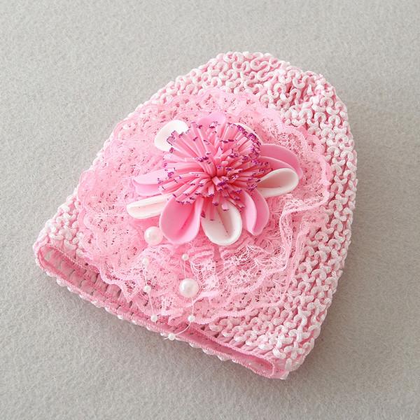 Neugeborenes Baby Hut rosa Blume Cap 0-1Y Kleinkind Baby Taufe Bonnet besonderen Anlass Zubehör A015 Cap
