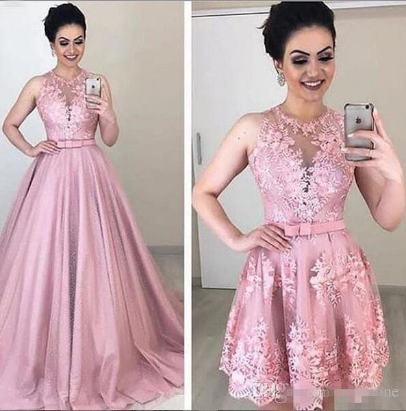 2019 New Two Pieces Prom Dresses sheer lace applique Satin with detachable train zipper Back Long Formal Party Dress women Evening Gowns