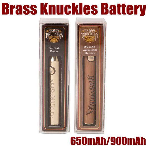 NOVAS Latão Knuckles Vape Bateria 650mAh 900mAh Tensão Variável Pré-aqueça E-Cigarette Bateria Caneta Para 510 Thraed Thicked Oil Cartucho Atomizador