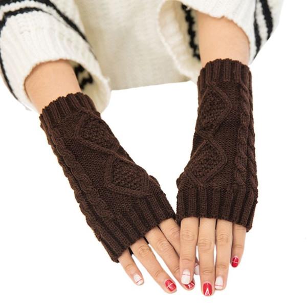 Guanti da polso lunghi da donna a tinta unita invernali guanti lunghi senza dita con motivo a maglia rombico scritto da studenti