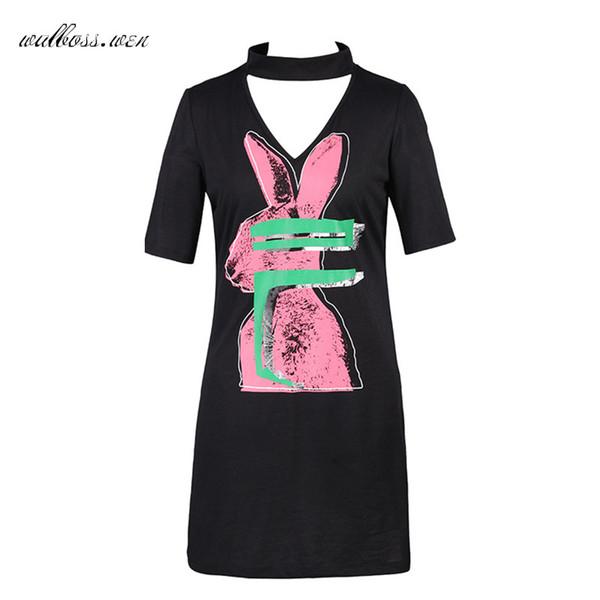 Heißer verkauf sexy print dress scharfe länge kleider frauen 2019 casual kurzarm dress elegante v-ausschnitt damen midi sommerkleid schwarz