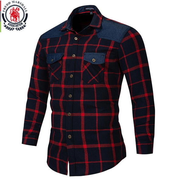 a8620ef0cf2 Fredd Marshall Autumn Double Button Down Pockets Plaid Shirt Long Sleeve  Casual Patch Shirts Male Regular Fit Plus Size 172
