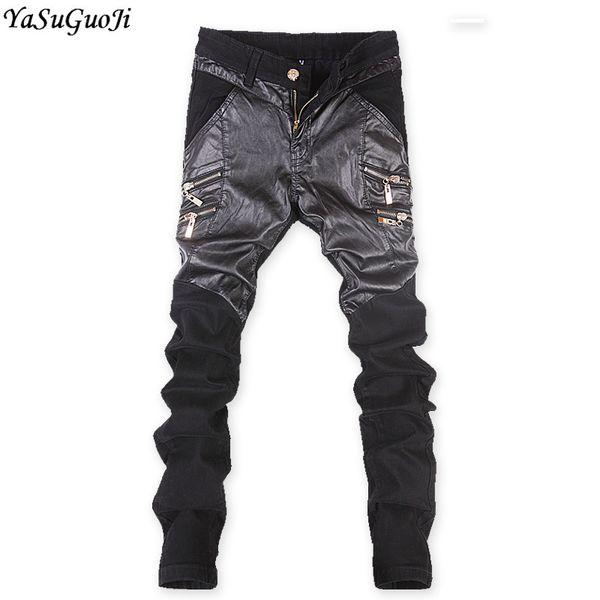 YASUGUOJI New 2019 Korean Fashion Men Stretch Jeans Punk Style Skinny Jeans Men Slim Mens Patchwork Biker for