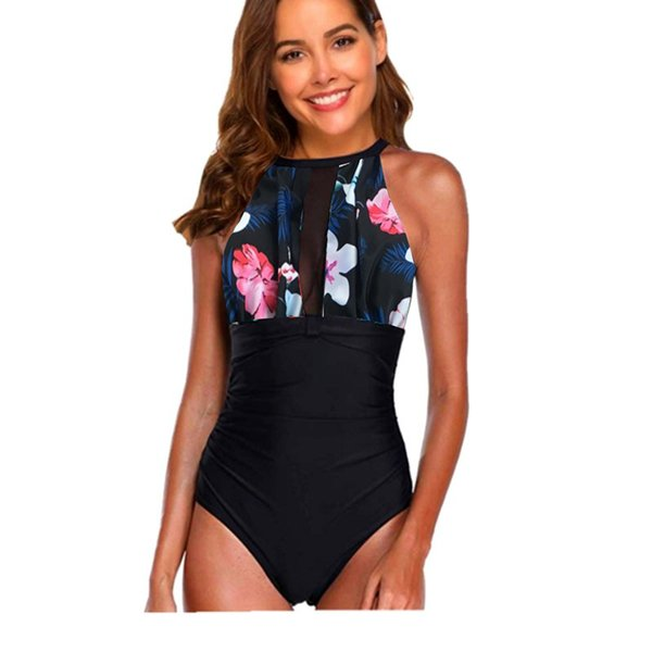 Women Jumpsuits Manufacturers Fashion Sexy Solid Color Large Size Wholesale New Printed Designer Swimsuit Mesh Mosaic Sexy Burst Swimwear