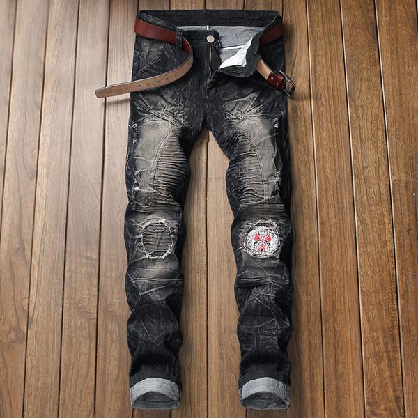 Pantalones vaqueros para hombre rasgados para hombre Slim Fit Motociclista para hombres Moda Hip Hop Pantalones vaqueros para hombre Agujeros nostálgicos Locomotora Pantalones con parche