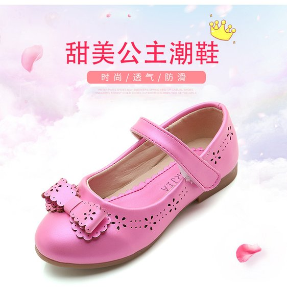 Hot 3 colors Kids Baby Flowers Children Princess Leather Toddler Shoes For Girl Dance Wedding Party Dress Shoes rose white pink