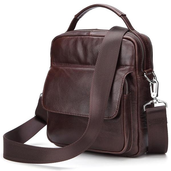 Vintage Brown Genuine Leather Messenger bags Men Briefcase Tote Brand Cow Leather Shoulder bag Men's Handbag Shoulder bags 2018 #321798