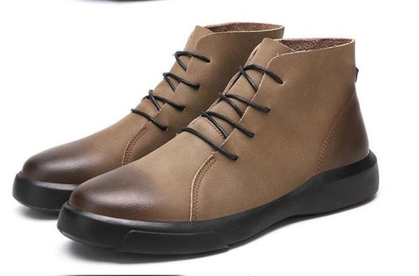 Vintage Fashion Men's Boots Spring/Autumn Cowhide Leisure Shoes Round Toe Split Leather Ankle Boot Lace-up Work Shoes