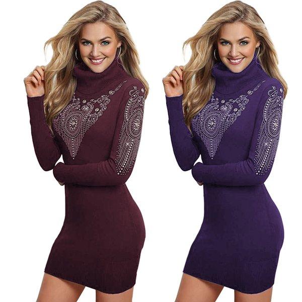 Wear Women's Autumn Bottoming Short Skirt High Collar Hot Drill Long Sleeves Dress