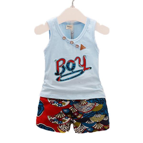 BibiCola летние дети мальчики одежда набор мальчиков рубашка + короткий хлопок мальчиков костюмы набор мода дети мальчик одежда наборы 2017 новый