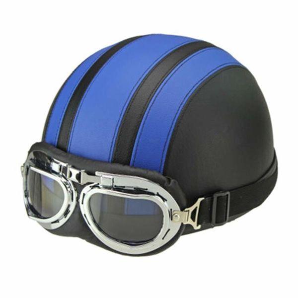 Men Women Motorcycle Helmet Open Face Bike Bicycle Helmet Scooter Half Leather with Visor Goggles Retro 54-60cm, Blue