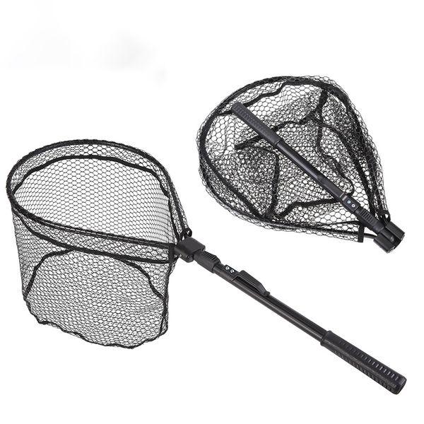 Portable Aluminum Alloy 80cm Retractable Fishing Net Telescoping Foldable Landing Net Pole Folding Landing For Fly Fishing