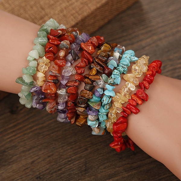 top popular 12pc Summer Natural Stone Bracelets Crystal Bracelet Bangles Quartz Gravel Crystal Beads Jewelry Bracelet Men And Women 2021