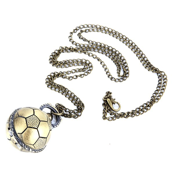 Retro Soccer Ball Shape Bronze Round Quartz Pocket Watch with Chain Necklace Jewelry Gifts SSA-19ING