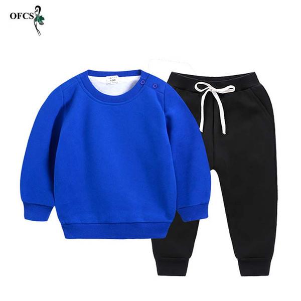 New STFO Enfants Automne Chauffage Costume Enfants Set Garçons Filles Vêtements Laine coton tricoté Col rond Pantalon à manches longues Top