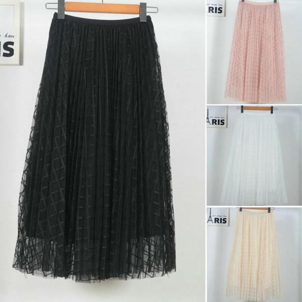 2020 Summer Women Stretch High Waist Maxi Plaid Pleated Skirt Tulle Beach Casual Boho Long Skirt Swing Star Moon Tulle Dresses