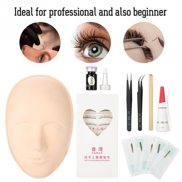 Eyelashes Training Kit False Eyelash Extension Practice Tattoo Pigment Tweezer Set for Beginner professional Makeup Tool Kits