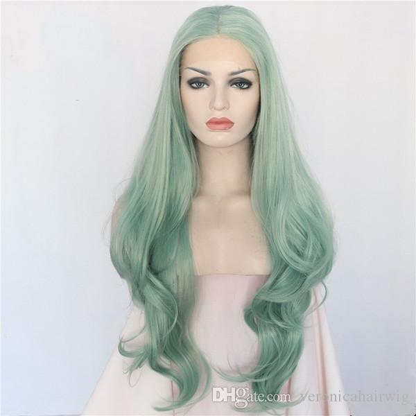 2019 Fashion 24inch Green Color 180% Density Natural Long Body Wave Hair Heat Resistant Glueless Synthetic Lace Front Wigs For Cosplay Women