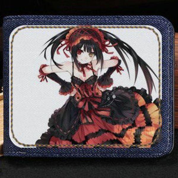 Tokisaki Kurumi wallet Date a live purse Nice girl anime short cash note case Money notecase Leather jean burse bag Card holders