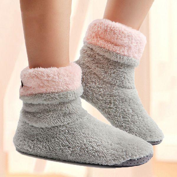 Home Slippers Women Coral Fleece Indoor Floor Shoes Warm Furry Slides Winter Indoor Sock Shoes Soft Slippers Chaussures Femme