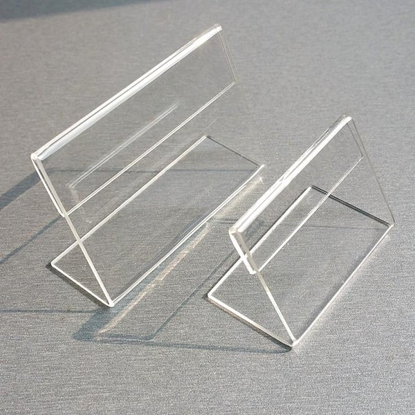 Acrylic T1.3mm Clear Plastic Table Sign Price Tag Label Display Paper Promotion Card Holders Small L Shape Stands 50pcs