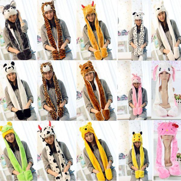 New Cartoon Animal Plush Scarves Hats Pikachu Winter Women Children Costume Hats Cap With Long Scarf Gloves Earmuffs Christmas Hats WX9-1170