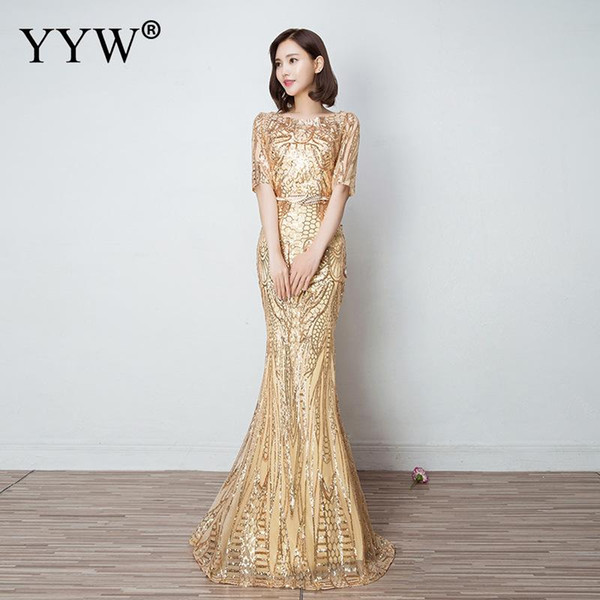 Gold Sequins Luxury Evening Dress Women Slim Elegant Mermaid Long Party Gowns Floral O Neck Sexy Special Occasion Wear For Women