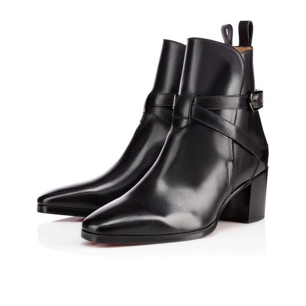 Art und Weise Frauen-Rot-Unterseite Boot echten Leder-Knöchel-Aufladungen für Frauen flacher Party-Kleid Winter-Luxus-Designer-Schuhe Schwarz, Braun Größe 35-43