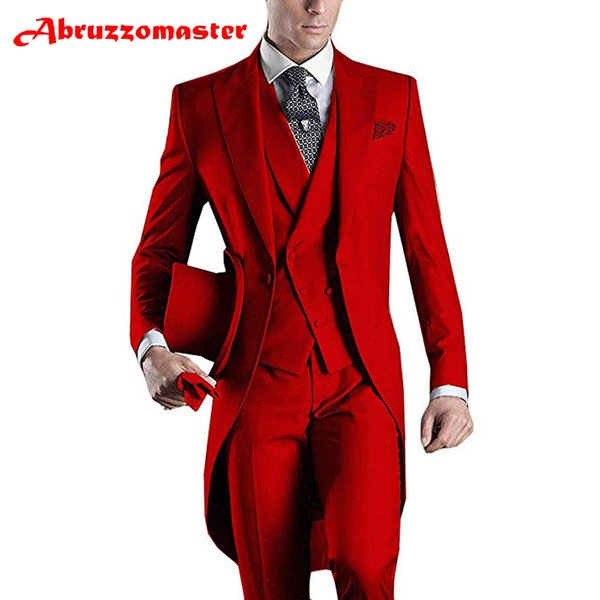 Abruzzomaster Red Morning Suits Men's Handsome 3 Pieces Formal Wedding Suits Tailcoat Suit Set Business Suit for Men