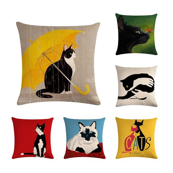 45 * 45 cm Simple Pintura Al Óleo pintada a mano Gato Animal Diseño Funda de Almohada Adecuado para la Decoración Del Hogar Sofá Cuadrado Funda de cojín