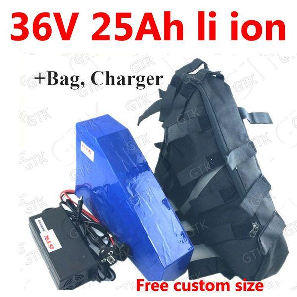 36v 25ah lithium-ionen-dreieck-akku 18650 li-ion BMS für 1500w 750 watt elektrische fahrrad-roller für maschinen + 3A ladegerät + beutel