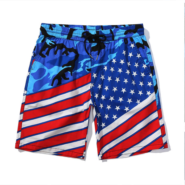 Board Shorts 2019 Homens Verão Bandeira Americana Swimwear Homens Shorts Praia Swimshorts Surf Sport
